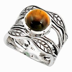 925 silver 3.02cts natural brown tiger's eye solitaire leaf ring size 6 r36970
