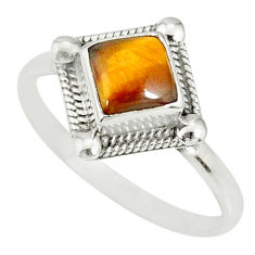 925 silver 1.16cts natural brown tiger's eye solitaire ring size 8.5 r78850
