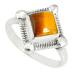 925 silver 1.06cts natural brown tiger's eye solitaire ring size 5 r78854