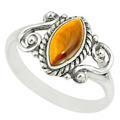 925 silver 2.44cts natural brown tiger's eye solitaire ring size 8 r82476
