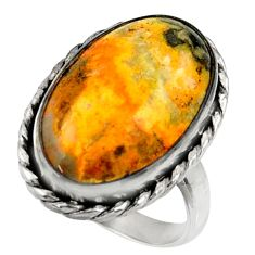 925 silver natural bumble bee australian jasper solitaire ring size 7.5 r28344
