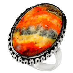 925 silver natural bumble bee australian jasper solitaire ring size 8.5 r28351