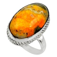 925 silver natural bumble bee australian jasper solitaire ring size 8.5 r28359