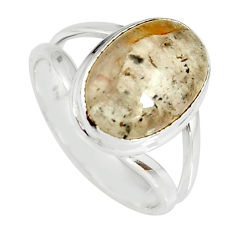 925 silver 5.13cts natural cacoxenite super seven solitaire ring size 8 r19331