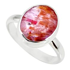silver 5.03cts cacoxenite super seven faceted ring size 8 r34095