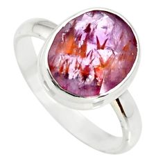 silver 4.98cts cacoxenite super seven faceted ring size 8 r34100