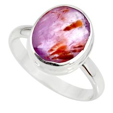 silver 5.24cts cacoxenite super seven faceted ring size 8 r34120