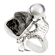 925 silver 9.64cts natural campo del cielo (meteorite) fish ring size 6.5 d46039