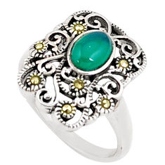 925 silver 2.01cts natural chalcedony oval marcasite ring size 6.5 a94579 c24879