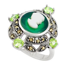 925 silver natural green chalcedony pearl enamel lady face ring size 8 c16044