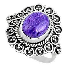 925 silver 5.16cts natural charoite (siberian) oval solitaire ring size 7 r57519