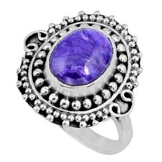 925 silver 4.16cts natural charoite (siberian) oval solitaire ring size 8 r57509