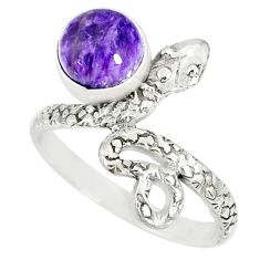 925 silver 3.50cts natural charoite (siberian) round snake ring size 8 r78623