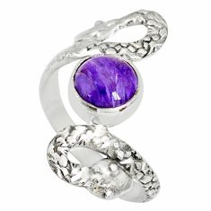 925 silver 3.02cts natural charoite (siberian) round snake ring size 8 r78709