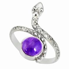 925 silver 3.14cts natural charoite (siberian) round snake ring size 9 r78671