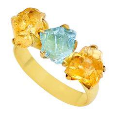 Handmade 8.81cts natural citrine aquamarine raw 14k gold ring size 8 t35012