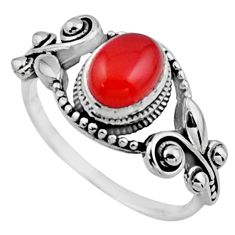 925 silver 2.00cts natural cornelian (carnelian) solitaire ring size 8.5 r54528
