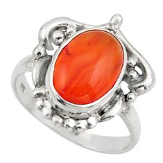 925 silver 5.08cts natural cornelian (carnelian) solitaire ring size 8 d47494