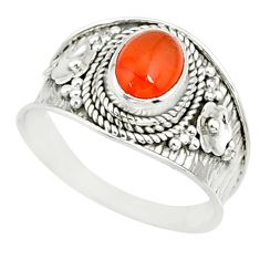 925 silver 1.99cts natural cornelian (carnelian) solitaire ring size 9 r81507