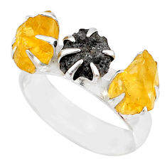 925 silver 5.81cts natural diamond raw citrine rough fancy ring size 7 r79223