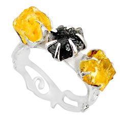 925 silver 5.80cts natural diamond raw citrine rough fancy ring size 8 r79226