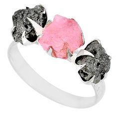 925 silver 5.22cts natural diamond raw morganite rough ring size 9 r79320