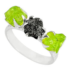 925 silver 5.51cts natural diamond raw peridot rough fancy ring size 8 r79214