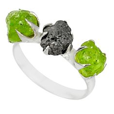 925 silver 5.55cts natural diamond raw peridot rough fancy ring size 8 r79233