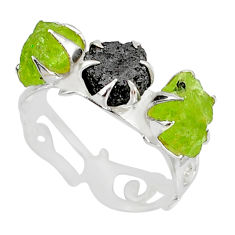 925 silver 5.55cts natural diamond raw peridot rough ring size 7.5 r79236