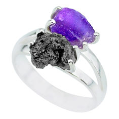 925 silver 6.39cts natural diamond rough amethyst rough fancy ring size 7 r92210