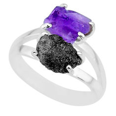 925 silver 5.84cts natural diamond rough amethyst rough fancy ring size 8 r92296