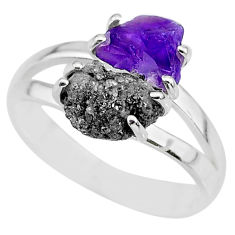 925 silver 6.70cts natural diamond rough amethyst rough fancy ring size 9 r92246