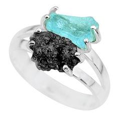 925 silver 6.03cts natural diamond rough aquamarine raw ring size 7 r92218