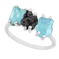 925 silver 7.17cts natural diamond rough aquamarine raw ring size 8 r92140