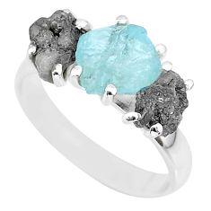 925 silver 8.51cts natural diamond rough aquamarine raw ring size 8 r92172