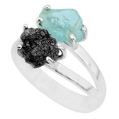 925 silver 6.70cts natural diamond rough aquamarine raw ring size 8 r92214