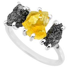 925 silver 7.66cts natural diamond rough citrine rough fancy ring size 7 r92187