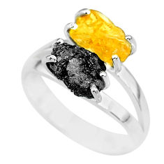 925 silver 6.04cts natural diamond rough citrine rough fancy ring size 7 r92204