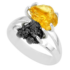 925 silver 7.04cts natural diamond rough citrine rough fancy ring size 7 r92267