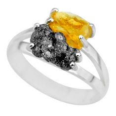 925 silver 7.33cts natural diamond rough citrine rough fancy ring size 8 r92251