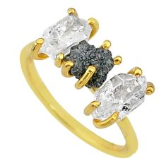 925 silver 6.36cts natural diamond raw fancy 14k gold ring size 7 t14025