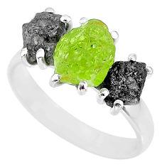 925 silver 8.87cts natural diamond rough green peridot rough ring size 8 r92167