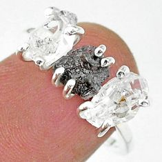 925 silver 7.17cts natural diamond raw herkimer diamond ring size 7 t14084