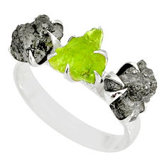 925 silver 5.54cts natural diamond rough peridot raw ring size 8 r79340