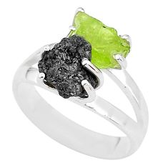 925 silver 7.24cts natural diamond rough peridot rough fancy ring size 7 t4299