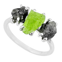 925 silver 8.51cts natural diamond rough peridot rough fancy ring size 8 r92153
