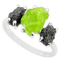 925 silver 8.12cts natural diamond rough peridot rough fancy ring size 8 r92179