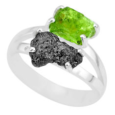 925 silver 7.29cts natural diamond rough peridot rough fancy ring size 8 r92228
