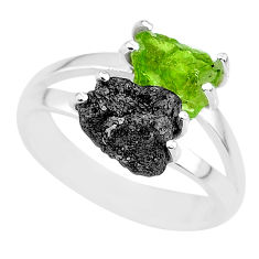 925 silver 6.03cts natural diamond rough peridot rough fancy ring size 8 r92284