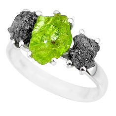 925 silver 9.86cts natural diamond rough peridot rough fancy ring size 9 r92159